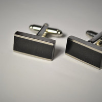 Designer wooden cufflinks, classic cufflinks for men, cool cufflinks with steel