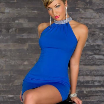 Halter Sexy Sequin Backless Bodycon Sleeveless Short Dress