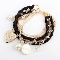 Charming Faux Pearls Decoration Bracelet with Chains