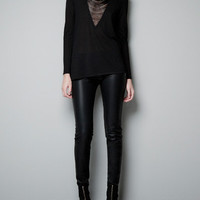 V-NECK SWEATER WITH SHEER FRONT - Knitwear - Woman - ZARA Canada