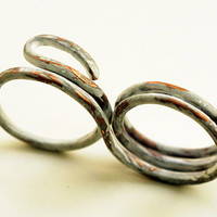 Distressed Double Finger Copper Ring, Frosty White Over Copper, Swirl Wrapped Two Finger Ring