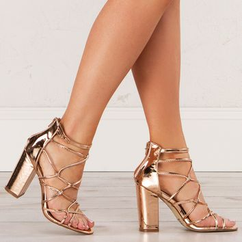 Metallic Strappy Sandal in Rose Gold