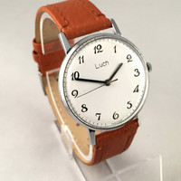 "Vintage Men's watch called  ""LUCH"" (eng. "" RAY"" ). Classic dial, round face, mechanical USSR watch. Gift for him"