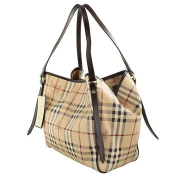 DCCKUG3 Burberry Haymarket Canterbury Tote Small Chocolate