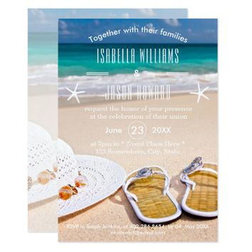 Tropical Ocean Beach Wedding Invitation