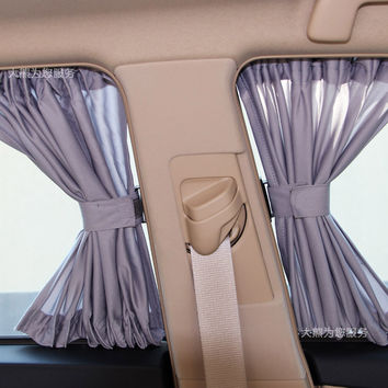2 x Update 50L Aluminum Alloy Elastic Auto Car Side Window Sunshade Curtain - 4 Colors