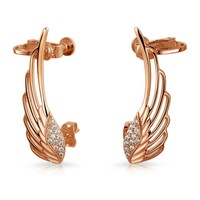 Bling Jewelry CZ Angel Wings Screwback Cartilage Earrings Rose Gold Plated Brass