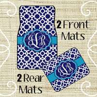 Custom Personalized Set of Car Floor Mats - Front and or Rear Back, Monogrammed Car Mats, Moroccan Navy Turquoise