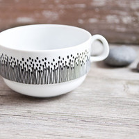 "Hand-painted vintage soup bowl ""somewhat angular"", black and white"