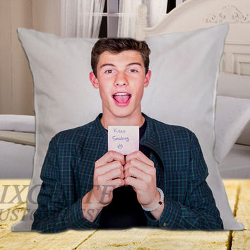 Shawn Mendes Keep Smiling on square pillow cover 16inch 18inch 20inch