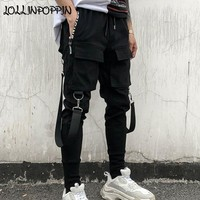 Streetwear Men Black Harem Pants Elastic Waist Punk Pants With Ribbons Street Dance Jogger Pants Hip Hop Trousers Multi Pockets