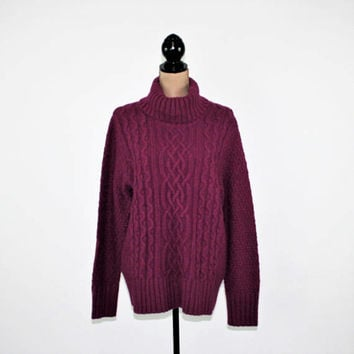 Plus Size Womens Turtleneck Sweater Winter Chunky Wool Sweater 2X Cable Knit Purple Magenta Eddie Bauer Vintage Clothing Womens Clothing