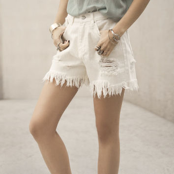 Summer Frayed Shorts White Medium