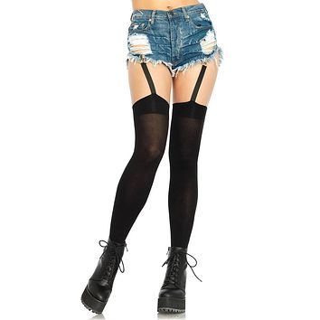 Go My Way Black Opaque Garter Clip Thigh High Stockings Tights Hosiery