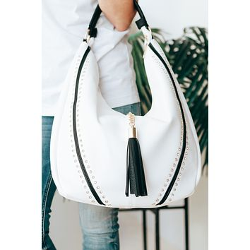 One Handle Hobo with Stone V Purse