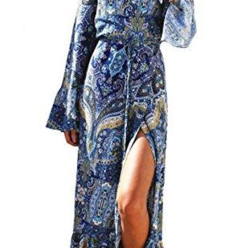 Myosotis510 Womens Maxi Dress Boho Print TieWaist Split Wrap Cardigan Cover Ups