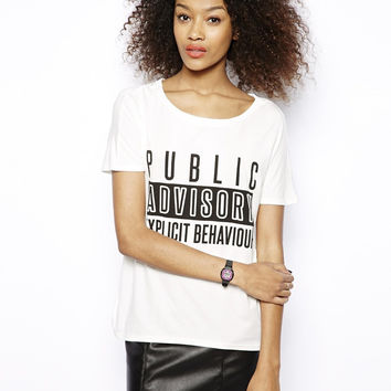 "White ""PUBLIC ADVISORY EXPLICIT BEHAVIOR"" Tee"