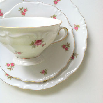 Vintage Bavaria Germany Footed Tea Cup & Saucer Trio Fine Bone China Wedding, Birthday, Thank You or Housewarming Gift Inspiration