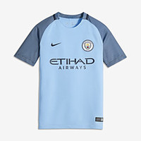 The 2016/17 Manchester City FC Stadium Home Big Kids' Soccer Jersey (XS-XL).