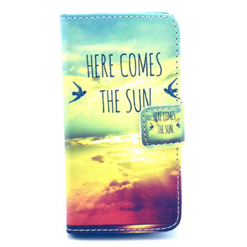 Here Comes the Sun Leather Wallet Case Cover