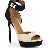 Bicolor Leather & Suede Platform Sandals