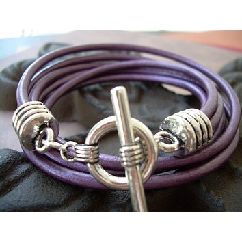 Leather Wrap Bracelet, Double Wrap Bracelet, Purple Leather Bracelet, Womens Bracelet, Womens Jewelry, Womens Gift, Bridesmaid Gift,