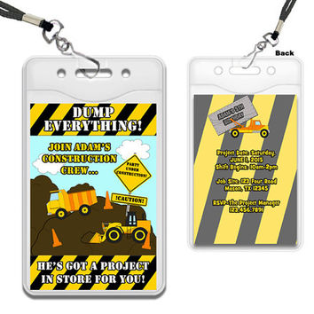 Dump Truck Invitation - Construction VIP Pass Lanyard Birthday Party Invites - Dump Everything - Crew - Boys Birthday Invite - Construction