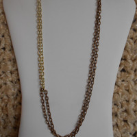 24 inch long Shiny Gold and Matte Coffee Double Chain Asymmetrical Necklace, N-1106