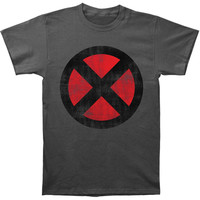 X-Men Men's  Distressed X-Men Logo Slim Fit T-shirt Charcoal Rockabilia
