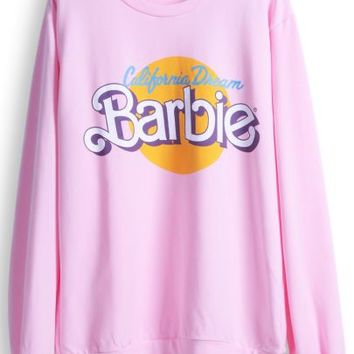 Pink Long Sleeve Barbie Print Casual Sweatshirt - Sheinside.com