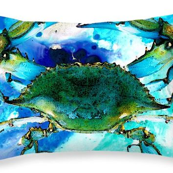 "Blue Crab - Abstract Seafood Painting Throw Pillow 20"" x 14"""