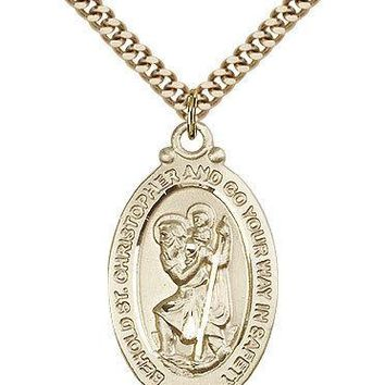 "Saint Christopher Medal For Men - Gold Filled Necklace On 24"" Chain - 30 Day ... 617759895308"
