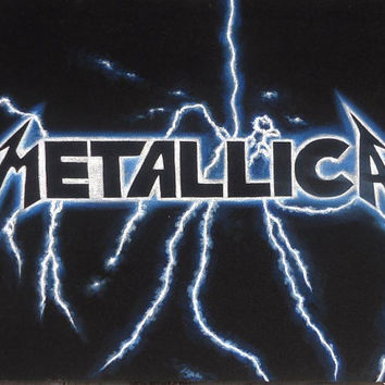 Metallica ride the lightning black velvet oil painting handpainted signed art