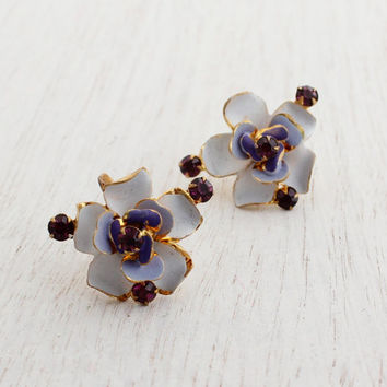 Vintage Enamel and Rhinestone Clip On Earrings - Austrian Gold Tone Prong Set Screw Back Purple Glass Costume Jewelry / Violet