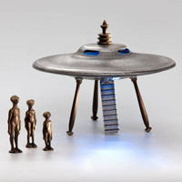 Flying Saucer Cast Bronze and Aluminum With Alien by Nelles