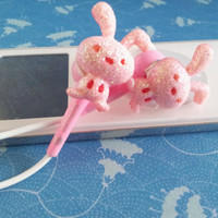 Pink Bunnies on Pink earbuds