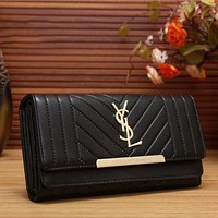 YSL Women Fashion Leather Buckle Wallet Purse Black I-MYJSY-BB
