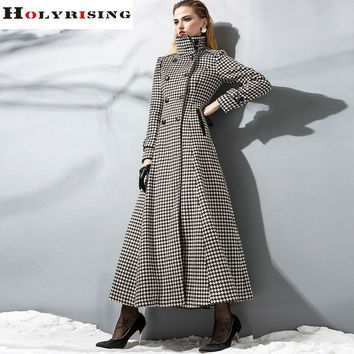 Autumn Fashion Vintage Women Cashmere Coats Long Double Button Jackets Slim Turn Collar Outwear Plaid Solid Overcoats S-2XL