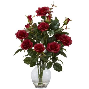 SheilaShrubs.com: Red Rose Bush w/Vase Silk Flower Arrangement 1281-RD by Nearly Natural : Artificial Flowers & Plants