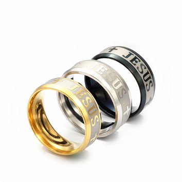 High Quality Large Size 8mm Titanium, Steel, 18K Silver Gold Plated Jesus Ring