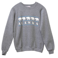 Vintage 90s ALASKA Polar Bear Crewneck Sweatshirt | Adult Size Medium M | 1990s Retro Gray Grey