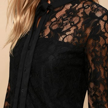 Lovely Lady Black Lace Long Sleeve Button-Up Top