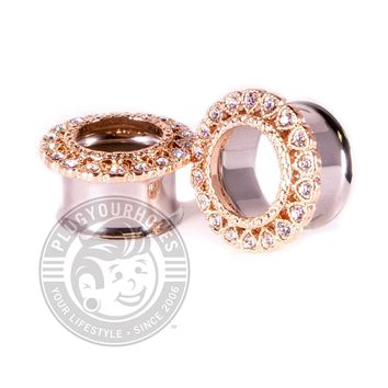 Rose Gold Gemmed Circle of Hearts Double Flared Steel Tunnels