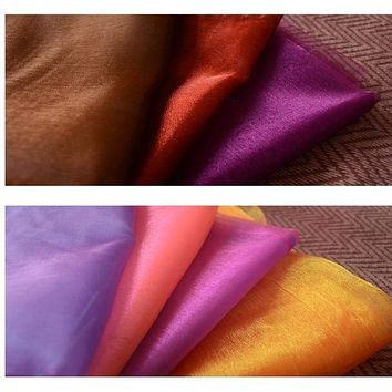Double Colored Two Tone Glass Organza Fabric Shiny Soft Light Weight Cloth for Dress Curtain 3 Meter Per Piece