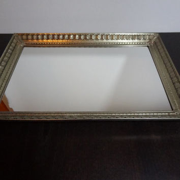 Vintage Hollywood Regency Large Rectangular Mirrored Vanity/Dresser Tray with a Pretty Ribbon and Lattice Gold Tone Metal Design Pattern