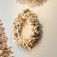 """24"""" Pre-Lit Snowy Pine Flocked Artificial Christmas Wreath - Clear Lights"""
