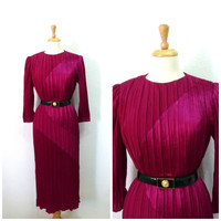 Vintage 1980s Pink Dress by Morton Myles for Warrens Silk Magenta Party Evening Cocktail Gown