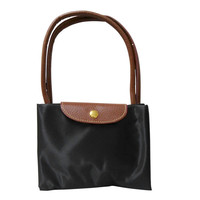 Large Designer-Inspired Tote Foldable Microfiber Travel Bag with Faux Leather Strap & Trim Long Champ Champs Inspired Bag