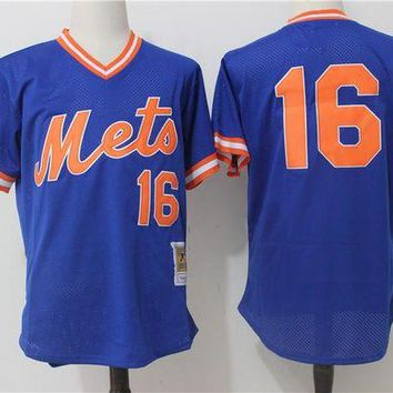ONETOW Men's New York Mets Dwight Gooden Mitchell & Ness Royal Cooperstown Mesh Batting Practice Jersey