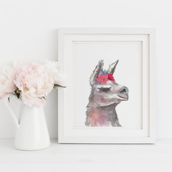 Boho Chic Cute Llama Painting Art Print